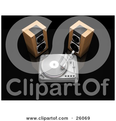 Clipart Illustration of Two Wood Stereo Speakers Beside A Turntable Playing A Record, On A Black Reflective Surface by KJ Pargeter