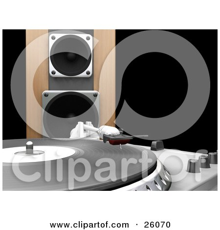 Clipart Illustration of The Needle Of A Record Player Lowering To The Vinly, A Wooden Speaker In The Background, Over Black by KJ Pargeter