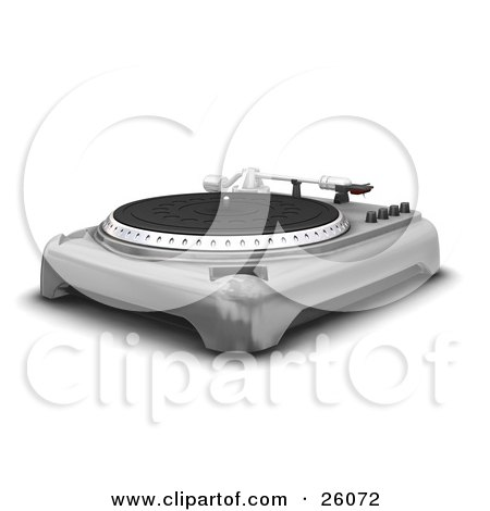 Clipart Illustration of a Vintage Silver Record Player With The Spinning Table, Needle And Knobs, Over White by KJ Pargeter