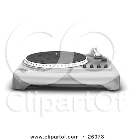 Clipart Illustration of a Chrome Turntable With The Needle Resting To The Side, Over A White Background by KJ Pargeter
