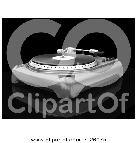 Clipart Illustration of a Vintage Silver Record Player With The Spinning Table, Needle And Knobs, On A Reflective Black Surface by KJ Pargeter