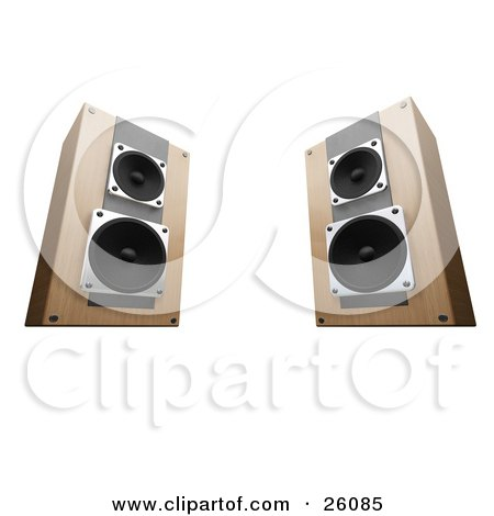 Clipart Illustration of Wooden Stereo System Speakers Facing Slightly Inwards Towards Each Other, On A White Background by KJ Pargeter