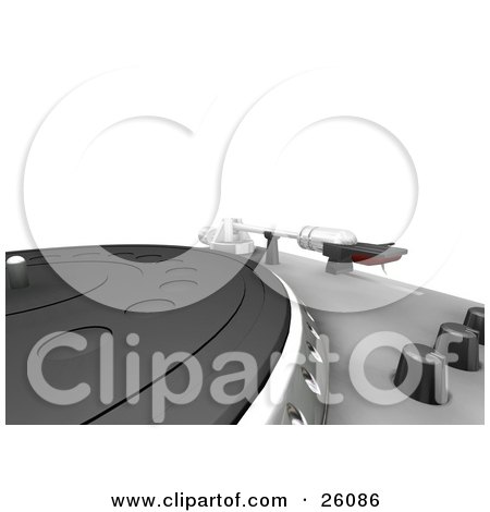 Clipart Illustration of a Turntable Needle Resting On The Shelf Beside The Knobs And Table, Over A White Background by KJ Pargeter