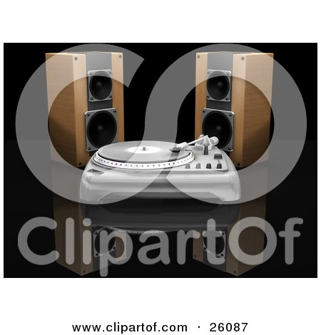 Clipart Illustration of Two Wooden Speakers Behind A Record Player On A Reflective Black Surface by KJ Pargeter