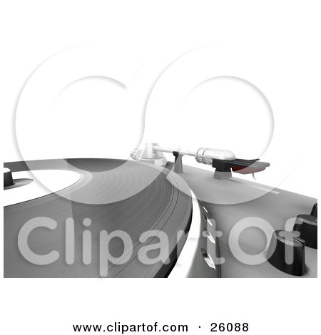 Clipart Illustration of a Closeup Of The Spinning Table Of A Record Player, With Black Nobs And The Needle, Over White by KJ Pargeter