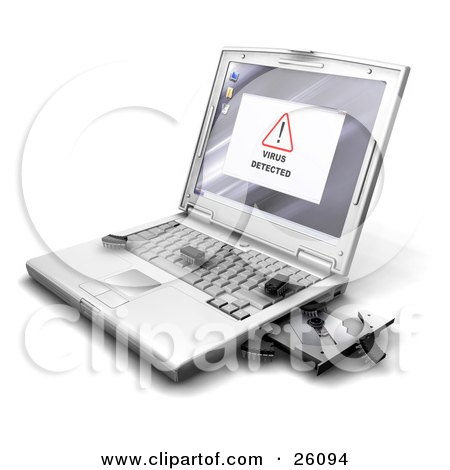 Clipart Illustration of a Virus Detected Notice On A Laptop Screen, With Bug Like Microchips Crawling Out Of The Disc Drive Onto The Keyboard by KJ Pargeter
