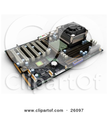 Clipart Illustration of a Computer Circuit Motherboard With Chips, Over White by KJ Pargeter