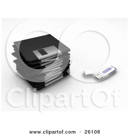Clipart Illustration of a Memory Stick Resting By A Stack Of Black Floppy Disc Drives, Over White by KJ Pargeter