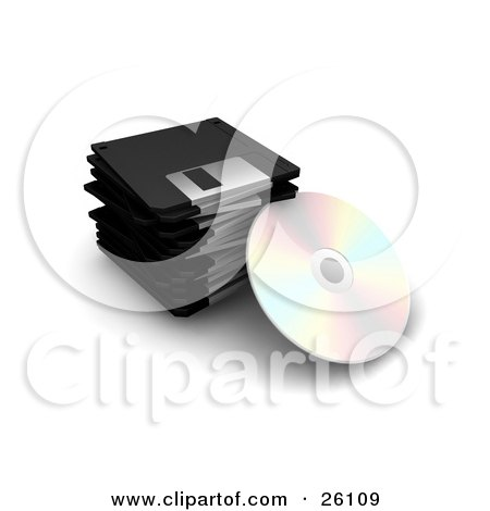 Clipart Illustration of a CD Resting Against A Stack Of Black Floppy Disc Drives, Over White by KJ Pargeter