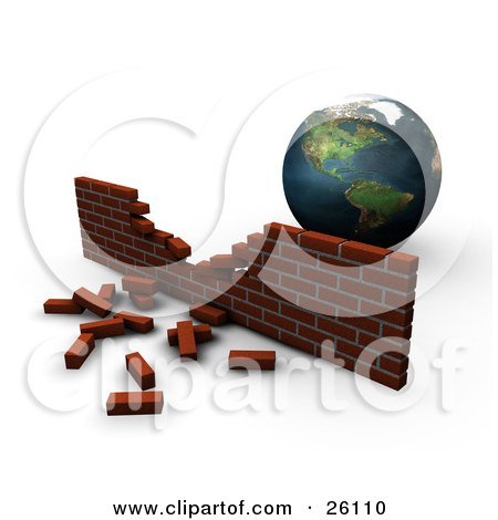 Clipart Illustration of Planet Earth Behind A Crumbling Brick Wall, Symbolizing Pollution by KJ Pargeter