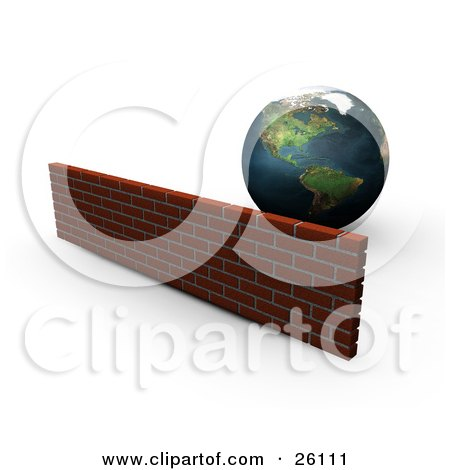Clipart Illustration of Planet Earth Behind A Strong Brick Wall by KJ Pargeter