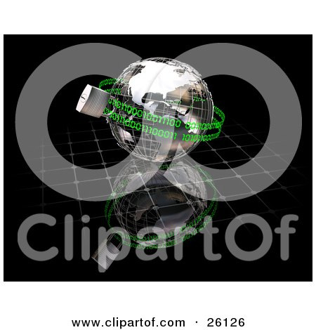Clipart Illustration of a Wire Frame Globe Padlocked With Green Binary Coding Chains, Over A Reflective Black Surface by KJ Pargeter
