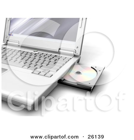 Clipart Illustration of a Notebook Computer With A Disc In The Open Drive by KJ Pargeter