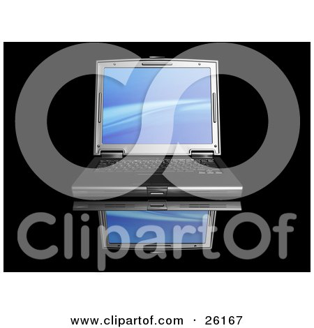 Clipart Illustration of a Black Laptop Computer With A Blue Wave Screen Saver, On A Reflective Surface by KJ Pargeter