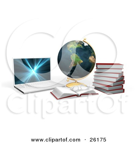 Clipart Illustration of a Laptop Computer With A Globe, Books And Pair Of Glasses by KJ Pargeter