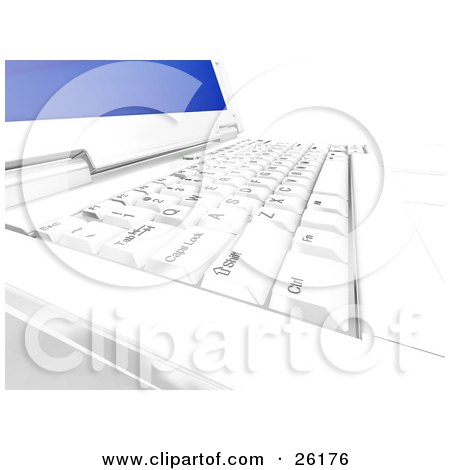 Clipart Illustration of a Closeup Of A Keyboard On A Laptop Computer With A Blue Screen by KJ Pargeter