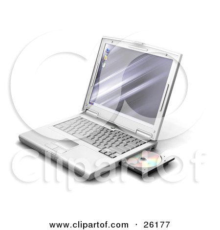Clipart Illustration of a Silver Laptop With A Disc In The Open Drive, Over White by KJ Pargeter