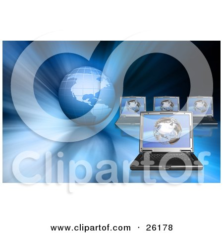 Clipart Illustration of Four Networking Laptops On A Blue Globe Background by KJ Pargeter