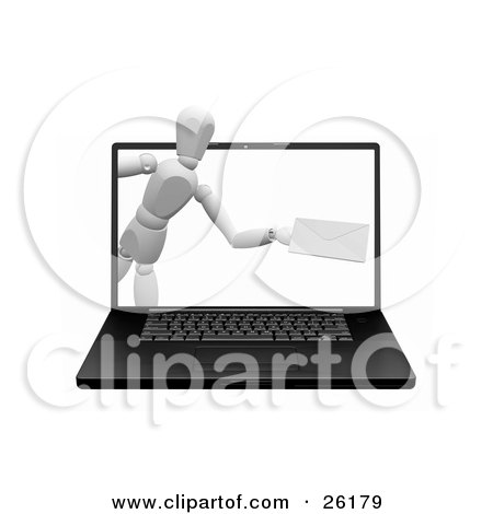 Clipart Illustration of a White Figure Character Emerging From A Laptop Computer Screen With An Envelope by KJ Pargeter