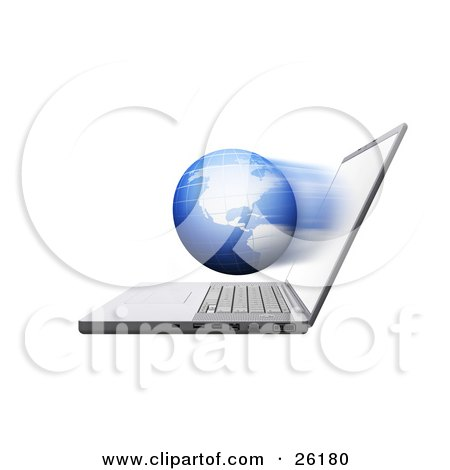 Fast Globe Emerging From A Laptop Computer Screen Posters, Art Prints