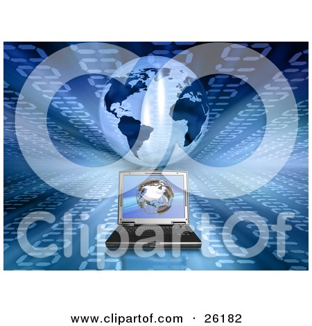 Clipart Illustration of a Laptop Computer On A Background With Blue Binary And A Globe by KJ Pargeter