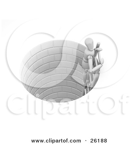 Clipart Illustration of a White Figure Character Climbing Up A Ladder From A Brick Well by KJ Pargeter