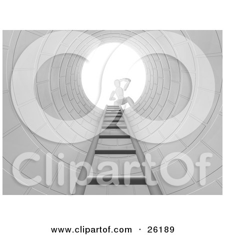 Clipart Illustration of a White Figure Character Peering Down From The Top Of A Man Hole With A Ladder by KJ Pargeter