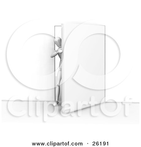 Clipart Illustration of a White Figure Character Emerging Through A Door by KJ Pargeter