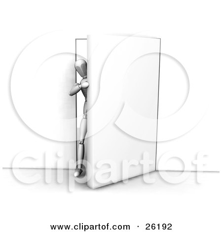 Clipart Illustration of a White Figure Character Stepping Through A Door by KJ Pargeter