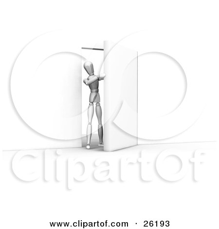 Clipart Illustration of a White Figure Character Opening And Stepping Through A Door by KJ Pargeter