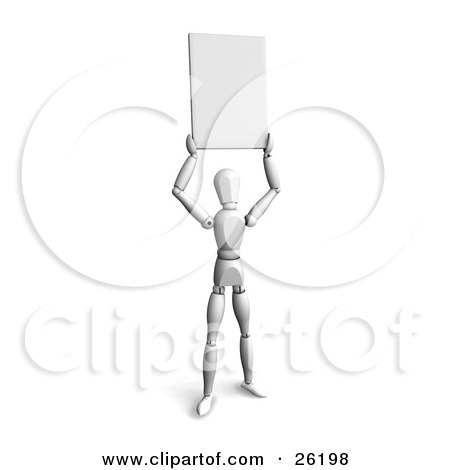 Clipart Illustration of a White Figure Character Holding A Blank Sign Above His Head by KJ Pargeter