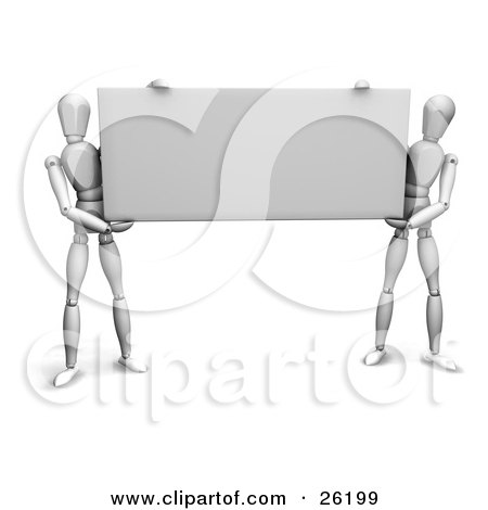 Clipart Illustration of Two White Figure Characters Holding Up A Black Rectangular Sign by KJ Pargeter