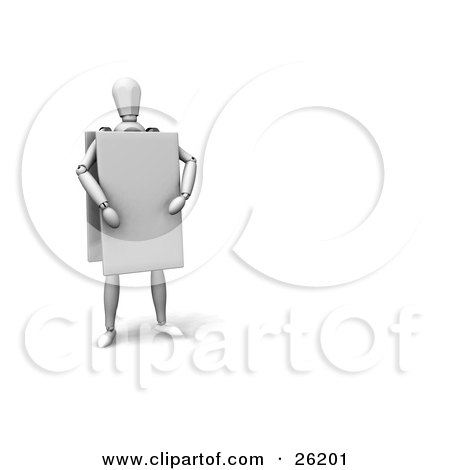 Clipart Illustration of a White Figure Character Wearing A Blank Sandwich Board Advertisement by KJ Pargeter
