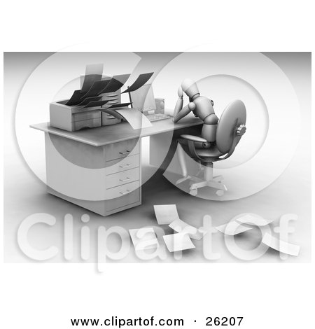 Clipart Illustration of a White Figure Character Sitting Depressed At Their Work Desk As Their Printer Spits Out Papers by KJ Pargeter
