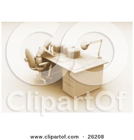Clipart Illustration of a White Figure Character Rubbing His Head And Sitting At A Desk Stacked With Paper Work, Brown Tones by KJ Pargeter