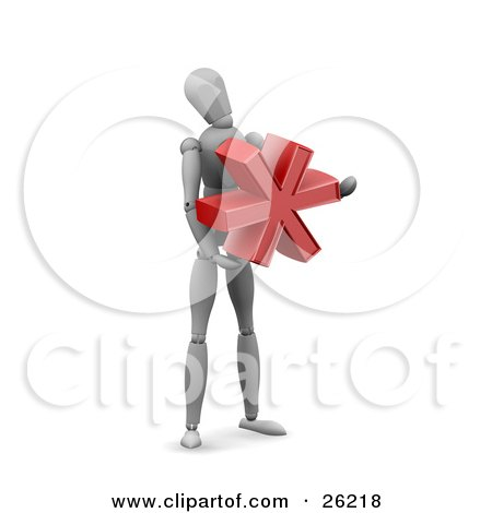 Clipart Illustration of a White Figure Character Holding A Red Asterisk by KJ Pargeter