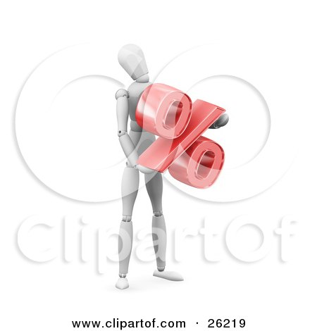 Clipart Illustration of a White Figure Character Standing And Holding A Red Percentage Symbol by KJ Pargeter