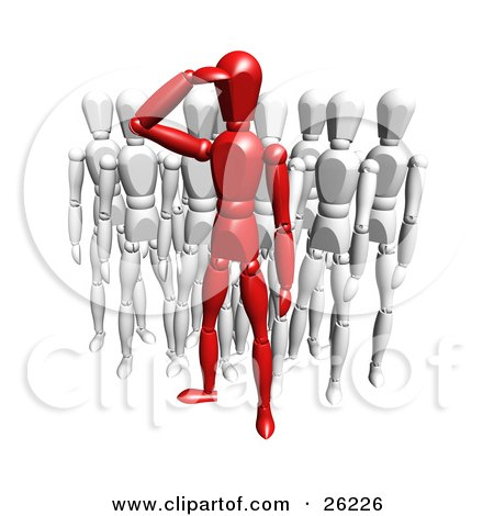 Clipart Illustration of a Red Figure Character Saluting And Standing In Front Of A Crowd Of White Figures by KJ Pargeter