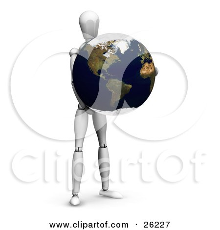 Clipart Illustration of a White Figure Character Holding Planet Earth by KJ Pargeter