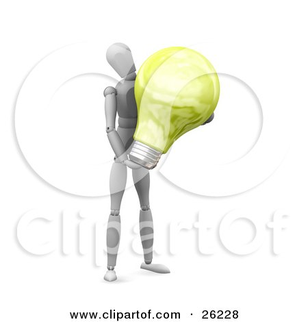 Clipart Illustration of a White Figure Character Carrying A Large White Electric Lightbulb by KJ Pargeter