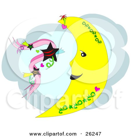 Royalty-free astronomy clipart picture of a crescent moon with green tattoo