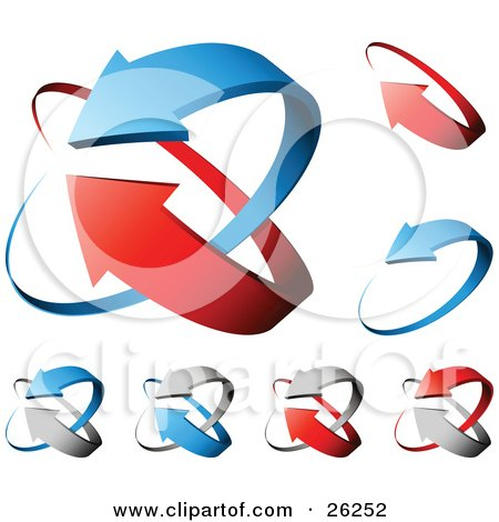 Clipart Illustration of Collection Of Green, Red And Gray Arrows Forming Circles, On A White Background by beboy