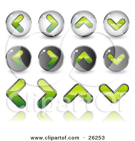 Clipart Illustration of Green Back, Forth, Upload And Download Arrow Icons, On A White Background by beboy