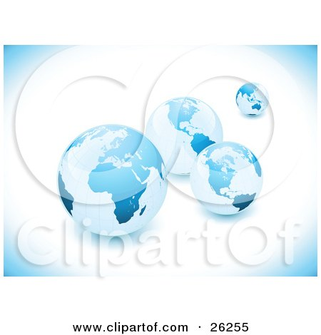 Clipart Illustration of a Background Of Four Blue Earths In Different Sizes by beboy