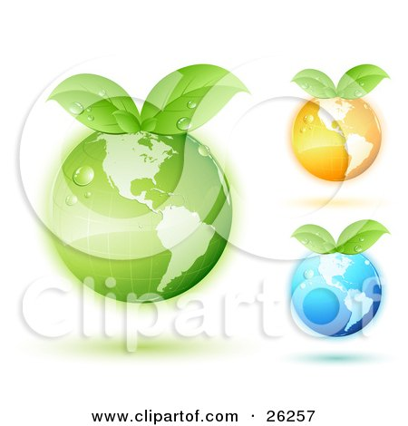 Clipart Illustration of Green, Orange And Blue Earths With Green Leaves Sprouting From The Tops And Matching Colored Shadows, On A White Background by beboy