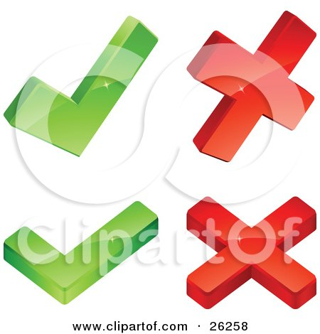 Clipart Illustration of Two Green Check Marks And Two Red X Marks, On A White Background by beboy