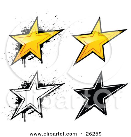 Clipart Illustration of a Collection Of Yellow, White And Black Grunge Styled Stars, On A White Background by beboy