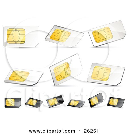 Clipart Illustration of a Collection Of Gold, White And Black Sim Cards, On A White Background by beboy