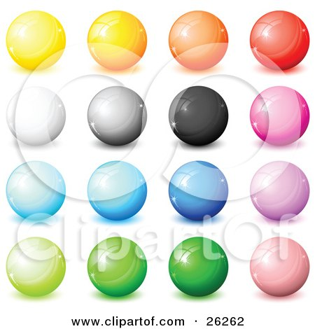 Clipart Illustration of a Collection Of Yellow, Orange, Red, White, Gray, Black, Pink, Blue, Purple And Green Shiny Orbs, Web Buttons, Or Marbles On A White Background by beboy