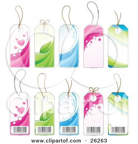 Clipart Illustration of a Collection Of Heart, Leaf, Water, Star And Wave, Retail Labels Showing The Fronts And Backs With Barcodes, On A White Background by beboy